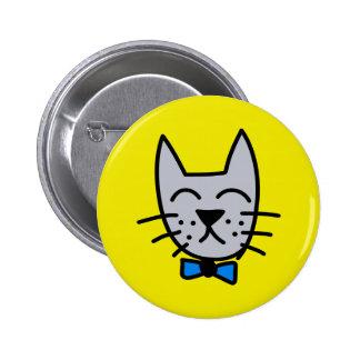 Grey graffiti cat face 2 inch round button