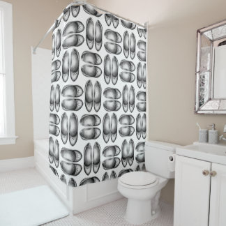 Grey graphic shoe design, shoping shower curtain