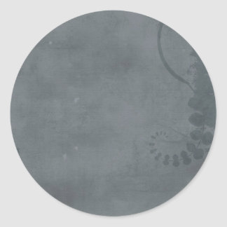 GREY GRAY DISTRESSED TEXTURED BACKGROUND FLORAL VI CLASSIC ROUND STICKER