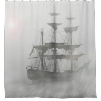 Grey, Gray Fog Pirate Ship Shower Curtain