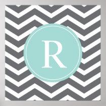 Grey Gray Mint Chevron Monogram Poster