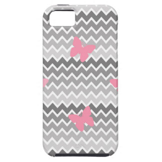 Grey Gray Ombre Chevron with Pink Butterfly iPhone SE/5/5s Case