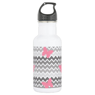 Grey Gray Ombre Chevron with Pink Butterfly Water Bottle