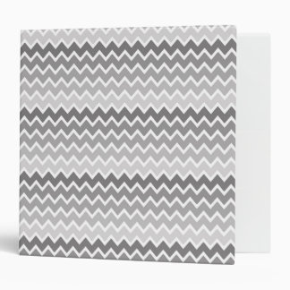 Grey Gray Ombre Chevron Zigzag Pattern 3 Ring Binder