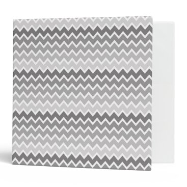 Professional Business Grey Gray Ombre Chevron Zigzag Pattern 3 Ring Binder