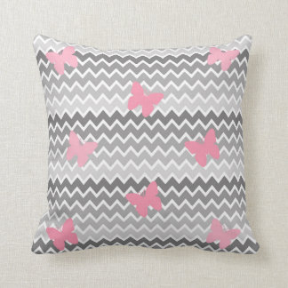 Grey Gray Ombre Pink Butterfly Pillow