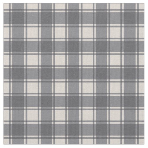 Grey Gray on Cream Gingham Plaid Buffalo Checker Fabric