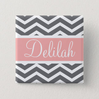 Grey Gray Peach Chevron Custom Name Button