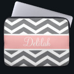 "Grey Gray Peach Chevron Custom Name Laptop Sleeve<br><div class=""desc"">Customise this vibrant grey / gray and white chevron pattern and pastel peach pink text banner with the name of your choice.</div>"