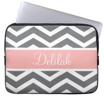 Grey Gray Peach Chevron Custom Name Laptop Sleeve