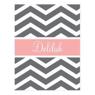 Grey Gray Peach Chevron Custom Name Post Card