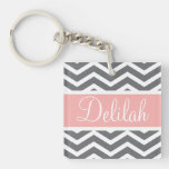 Grey Gray Peach Chevron Custom Name Single-Sided Square Acrylic Keychain