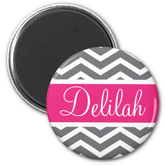 Grey Gray Pink Chevron Name Refrigerator Magnet