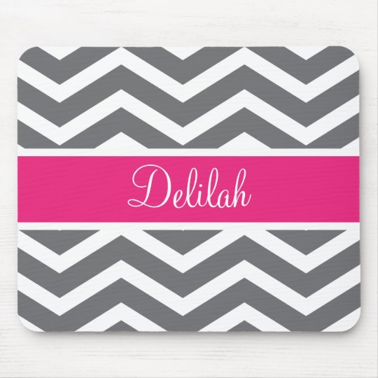 Grey Gray Pink Chevron Name Mouse Pad