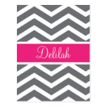 Grey Gray Pink Chevron Name Post Cards