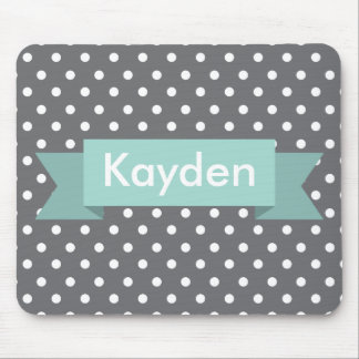 Grey Gray Polka Dot Mint Custom Name Mouse Pad