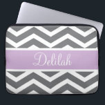 "Grey Gray Purple Chevron Custom Name Computer Sleeve<br><div class=""desc"">Customise this vibrant grey / gray and white chevron pattern and pastel purple text banner with the name of your choice.</div>"