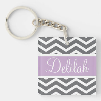 Grey Gray Purple Chevron Custom Name Keychain