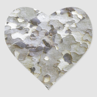 Grey Gray Sycamore Bark Heart Sticker