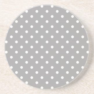 Grey Gray White Spotty Polka Dot Pattern Coaster