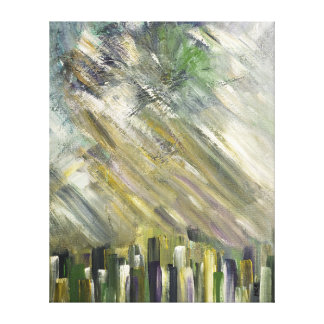 Grey Green Abstract Urban Cityscape City Sky Art Gallery Wrapped Canvas