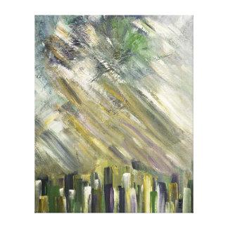 Grey Green Abstract Urban Cityscape City Sky Art Canvas Print