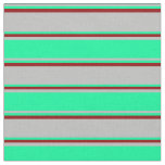 [ Thumbnail: Grey, Green, and Dark Red Colored Stripes Fabric ]