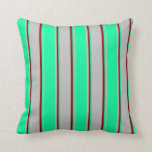 [ Thumbnail: Grey, Green, and Dark Red Colored Stripes Pillow ]
