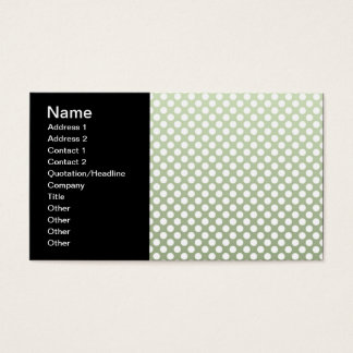 Grey Green and White Polka Dot Pattern Business Card