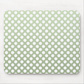 Grey Green and White Polka Dot Pattern Mouse Pad