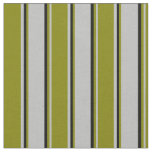 [ Thumbnail: Grey, Green & Black Lines Fabric ]