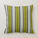[ Thumbnail: Grey, Green & Black Lines Throw Pillow ]
