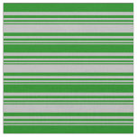 [ Thumbnail: Grey & Green Colored Lined Pattern Fabric ]
