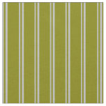 [ Thumbnail: Grey & Green Colored Stripes Pattern Fabric ]