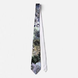 Grey green floral pattern neck tie