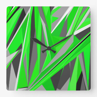 Grey-green geometry square wall clock