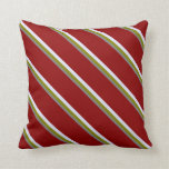 [ Thumbnail: Grey, Green, Lavender, and Dark Red Colored Lines Throw Pillow ]