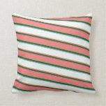 [ Thumbnail: Grey, Green, Light Coral, Mint Cream & Light Blue Throw Pillow ]