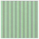 [ Thumbnail: Grey & Green Lined/Striped Pattern Fabric ]