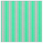 [ Thumbnail: Grey & Green Lines Pattern Fabric ]