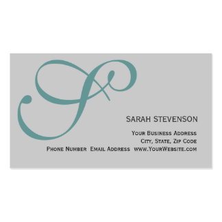 Grey Green Monogram Professional Business Card