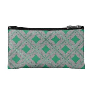 grey, green patterns makeup bag