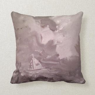 """GREY & GREEN SEA BOAT BIRDS Throw Pillow 20"""" x 20"""""""