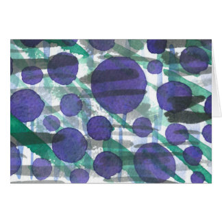 Grey-Green Slashes with Purple Watercolour Circles Card