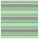 [ Thumbnail: Grey & Green Striped/Lined Pattern Fabric ]