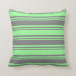 [ Thumbnail: Grey & Green Striped/Lined Pattern Throw Pillow ]