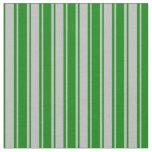 [ Thumbnail: Grey & Green Stripes Pattern Fabric ]