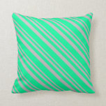 [ Thumbnail: Grey & Green Stripes Throw Pillow ]