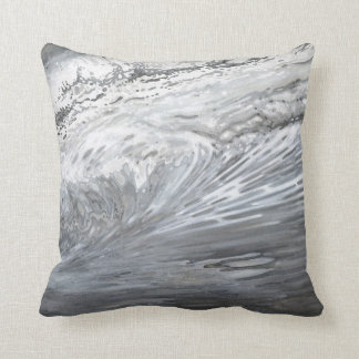 Grey Greyscale Coastal Waves Decor Pillow M. Juul