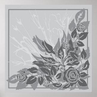 grey grunge roses poster